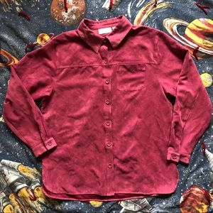 VTG 90s Raspberry Faux Suede Button Up